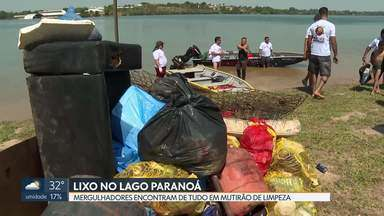 Mergulhadores fazem mutirão de limpeza no Lago Paranoá - Toneladas de lixo foram retiradas da Prainha, no Lago Norte.