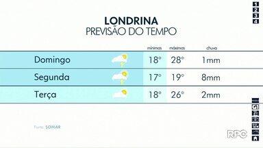 Previsão é de pancadas de chuva e final de semana menos abafado no norte do estado - A máxima em Londrina neste sábado (19) é de 34ºC.