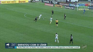 Ponte Preta cede empate ao Bragantino e perde chance de se aproximar do G-4 - Macaca saiu na frente com Roger, mas levou empate com Thiago Ribeiro neste sábado (19), no Moisés Lucarelli.