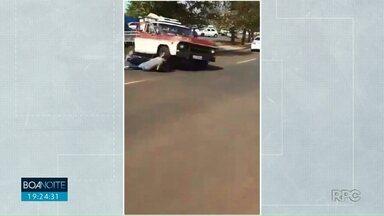 Motorista atropela motociclista depois de briga de trânsito - Flagrante foi feito em Londrina.