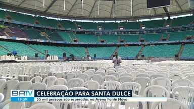 Confira os últimos preparativos para missa em homenagem a Santa Dulce na Arena Fonte Nova - Celebração pela canonização da santa será na Arena Fonte Nova, no domingo (20).