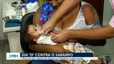 """Dia """"D"""" contra o sarampo tem baixa procura por vacina em Goiânia e Aparecida de Goiânia - A procura ficou abaixo do esperado."""