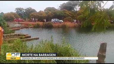 Criança de 10 anos morre afogada na barragem de Pedro Bernardo (GO) - Segundo os bombeiros, a menina morava em Ceilândia e foi nadar na represa com a família.