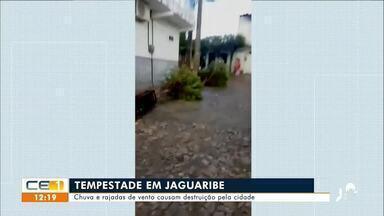 Chuva e rajadas de vento causaram destruição em Jaguaribe - Saiba mais no g1.com.br/ce