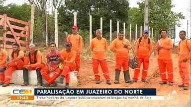 Trabalhadores da limpeza pública paralisaram atividades na manhã de hoje - Saiba mais no g1.com.br/ce