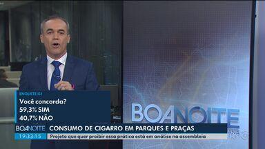 Maioria dos internautas concorda com projeto contra o consumo de cigarro em praças - O projeto está em análise na Assembleia Legislativa do Paraná. Mais de 4.500 pessoas participaram da enquete no G1 Paraná.