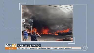 Duas vítimas que morreram em acidente de avião em BH já foram identificadas - Feridos continuam internados em estado grave no Hospital João XXIII.