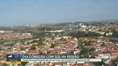 Confira a previsão do tempo para as cidades da região de Campinas - Máxima de 28°C em Campinas com possibilidade de chuva.