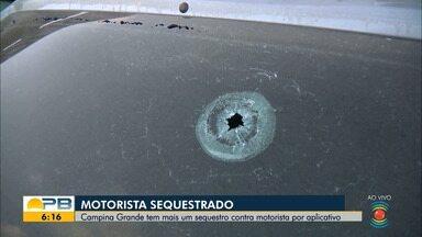 Motorista de aplicativo é sequestrado e carro é encontrado com marca de tiro, em CG - Suspeitos levaram o carro e dinheiro da vítima. Carro foi encontrado abandonado e com uma marca de tiro no para-brisa traseiro nesta quarta-feira.