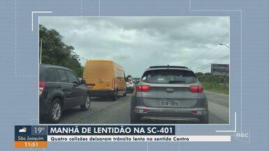 Quatro colisões causam lentidão no trânsito em Florianópolis - Quatro colisões causam lentidão no trânsito em Florianópolis
