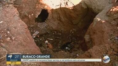Daerp conserta vazamento, mas deixa 'cratera' no Jardim Helena em Ribeirão Preto - Moradores cobram finalização da obra e recape da rua.