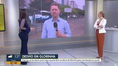 Manutenção de ponte causa desvio na Freeway, na altura de Glorinha - Confira como vai ser os desvios.