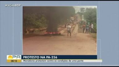 Moradores de Ipixuna do Pará protestam contra as condições de uma ponte na PA-256 - Moradores de Ipixuna do Pará protestam contra as condições de uma ponte na PÀ-256