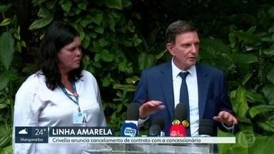 Prefeitura anunciou que vai cancelar contrato de concessão da Linha Amarela - O prefeito Marcelo Crivella alega que o prejuízo ultrapassa R$ 1,5 bi. A Lamsa informou que opera dentro da legalidade e que vai recorrer na Justiça.