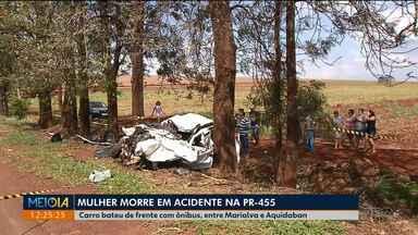 Mulher morre em acidente na PR-455 - Ela bateu de frente com o micro-ônibus.