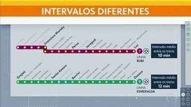 CPTM muda intervalos em 2 linhas neste fim de semana - Espera será menor nas linhas 7-Rubi e 9-Esmeralda.
