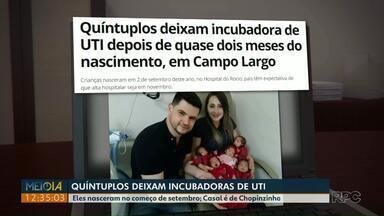 Quíntuplos deixam incubadora de UTI após dois meses do nascimento - Casal é de Chopinzinho, no sudoeste do Paraná.