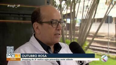 Profissionais da saúde fazem ação do Outubro Rosa em Juiz de Fora - Intenção da iniciativa é orientar sobre a necessidade da prevenção do câncer de mama, segundo tipo da doença que mais atinge as mulheres brasileiras.