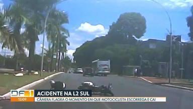 Motociclista cai na L2 Sul - A câmera do carro que vinha atrás flagrou o acidente. O motociclista derrapou na pista, perdeu o controle e caiu, na altura da 412 sul. Ele foi socorrido pelos bombeiros.