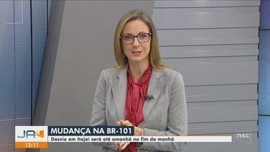 Desvio de trecho na BR-101 estará alterando trânsito até domingo em Itajaí - Desvio de trecho na BR-101 estará alterando trânsito até domingo em Itajaí
