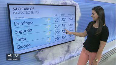 Veja fomo fica o tempo em São Carlos no domingo - Temperatura máxima deve chegar aos 33 graus.