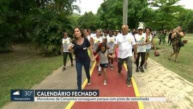 RJ Móvel fecha calendário no Campinho - Moradores ganharam um parque reformado, com pista de caminhada