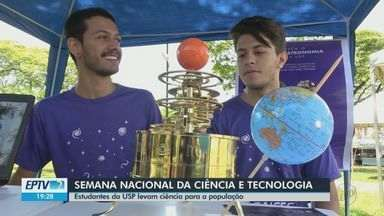 Estudantes da USP levam pesquisa para a praça em São Carlos - Evento faz parte da Semana Nacional da Ciência e Tecnologia.
