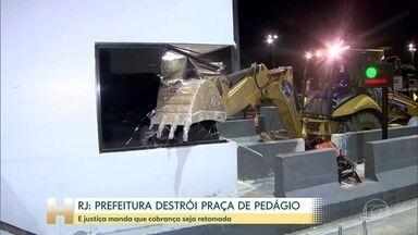 Justiça do Rio determina que pedágio da Linha Amarela volte a ser cobrado - Prefeitura mandou destruir as cabines e motoristas não têm como pagar.