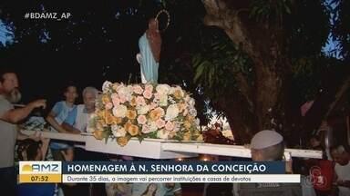 Peregrinação da imagem de Nossa Senhora da Conceição aconteceu durante 35 dias em Macapá - Santa vai visitar casas e estabelecimentos para levar mensagem de fé e devoção.
