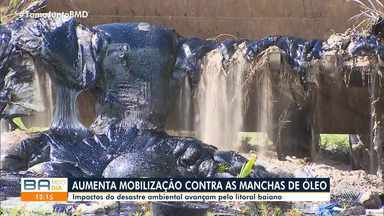 Voluntários se unem para retirar óleo das praias de Ituberá, no baixo sul do estado - A Marinha distribuiu kits para as pessoas que atuam no trabalho de limpeza. Somente na segunda-feira (28), dez toneladas da substância foram retiradas na região.
