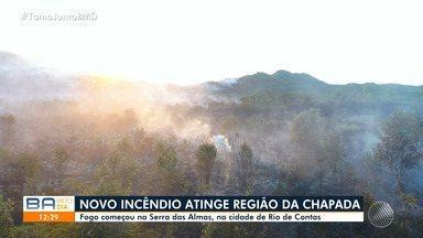 Incêndio atinge o Morro do Junco e a Serra das Almas no sudoeste da Bahia - Fogo começou na terça-feira (29) e já destruiu mais de 500 hectares no município do Rio de Contas, no sudoeste do estado.