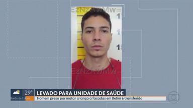 Preso por matar criança a facadas em Betim é transferido para unidade médico-penal - Segundo PM, Moabe Edon Pinto Nogueira Souto, de 25 anos, tem esquizofrenia.
