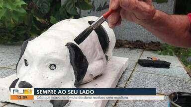Cão que ficava no túmulo do dono em Nova Friburgo recebe escultura - Caso que aconteceu em meados da década de 1920.