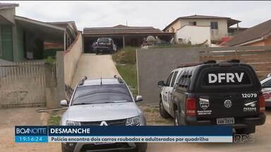 Polícia encontra dois carros roubados e adulterados por quadrilha em Almirante Tamandaré - Os investigadores acreditam que uma quadrilha especializada em desmanches tenha roubado os carros.