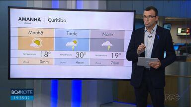 Terça-feira ainda de tempo quente em Curitiba e região - Frente fria muda o tempo na quarta.