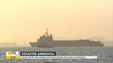 Navios partem do Rio para ajudar limpeza em praias do Nordeste - As embarcações da Marinha são as maiores da esquadra brasileira.