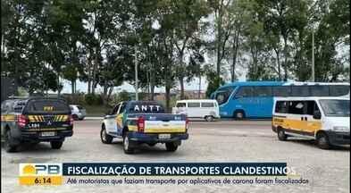 Fiscalização de transportes clandestinos na BR-101 - Até motoristas que faziam transporte por aplicativos de carona foram fiscalizados.