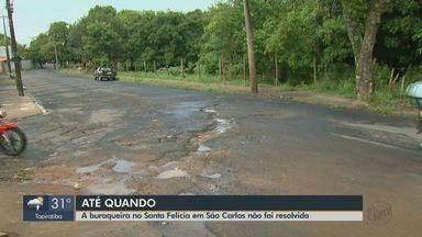 Prazo vence e Prefeitura Municipal de São Carlos não arruma asfalto do Santa Felícia - A rua Francisco Lopes e a rua Antônio Carlos Ferraz de Salles continuam com buracos.