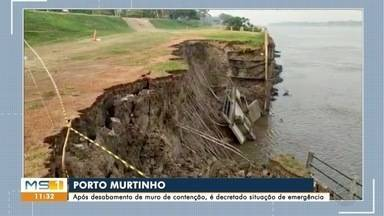 Prefeitura de Porto Murtinho decreta emergência após queda de muro de contenção - Prefeito do município anunciou a medida nesta terça-feira.