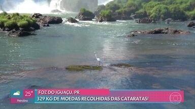Hábito de jogar moedas nas Cataratas do Iguaçu é um problema para os animais - Quase 400 quilos de moedas foram recolhidas nesta terça-feira. Ana Maria explica de onde surgiu a tradição de jogar moedas em fontes