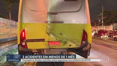 Passageiros dividem opiniões sobre segurança nos coletivos do MOVE - Dois acidentes com coletivos do MOVE foram registrados, em menos de um mês, em Belo Horizonte