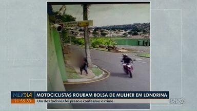 Motociclistas roubam bolsa de mulher na Zona Sul de Londrina - Um dos ladrões foi preso e, segundo a polícia, confessou o crime.