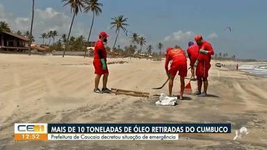 Mais de 10 toneladas de óleo foram retiradas do Cumbuco - Saiba mais no g1.com.br/ce