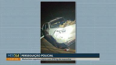Motorista capota carro com 378 kg de maconha em Toledo - Acidente aconteceu após fuga da polícia,na PR-317.