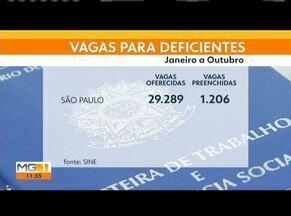 Mais de três mil vagas pra deficientes foram ofertadas em Minas neste ano - A cada cinco vagas apenas uma é preenchida.