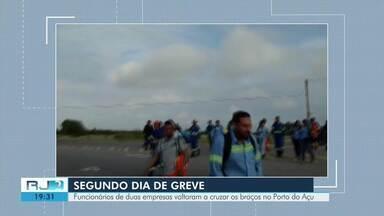 Funcionários de duas empresas voltam a cruzar os braços no Porto do Açu - Assista a seguir.
