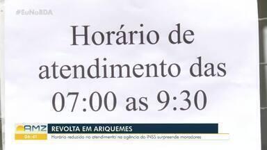 Horário reduzido na agência do INSS em Ariquemes gerou revolta dos beneficiários - O horário reduzido é por conta da falta de servidores e a grande demanda. Um pedido de providência foi protocolado pela subseção da OAB de Ariquemes