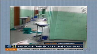 Polícia deve investigar invasão em escola estadual - 700 alunos estão sem aulas nesta segunda-feira(11). Bandidos reviraram e quebraram tudo. A escola fica em são José dos Pinhais