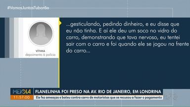 Flanelinha é preso na Av. Rio de Janeiro, em Londrina - Ele fez ameaças e bateu contra carro de motoristas que se recusou a fazer o pagamento.