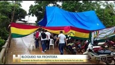 Fronteira do Brasil com a Bolívia no Acre está fechada há seis dias - A situação na Bolívia tem impactado as regiões de fronteira com o Brasil. No Acre, manifestantes bloqueiam a passagem há seis dias.